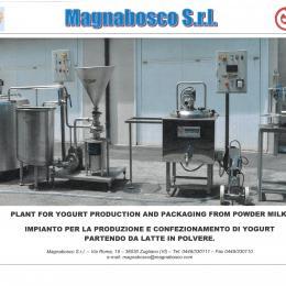 Impianto produzione yogurt da latte in polvere