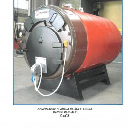 Horizontal wood burning hot water generator